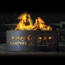 """Happy Camper"" with Camper Square Fire Ring"