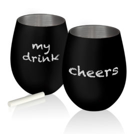 Colton Black Matte Stainless Steel Wine Glasses